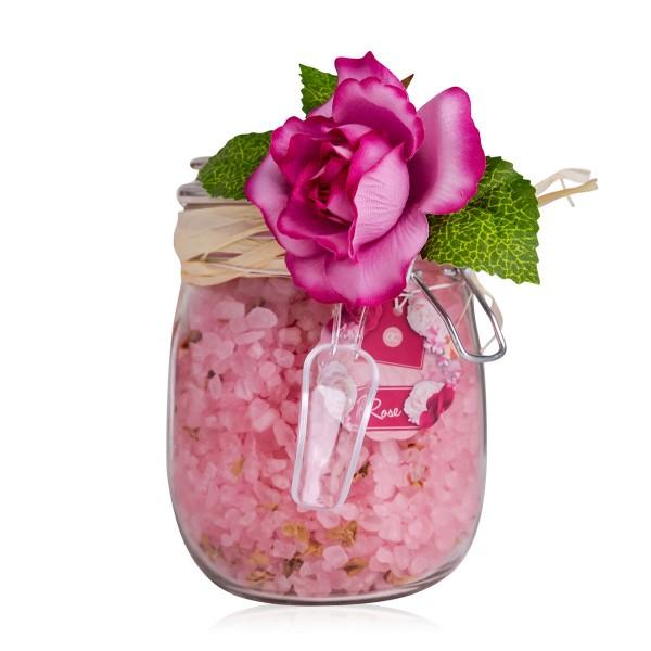 Badesalz Rosen im Glas mit Rosenblüten & Dekorose