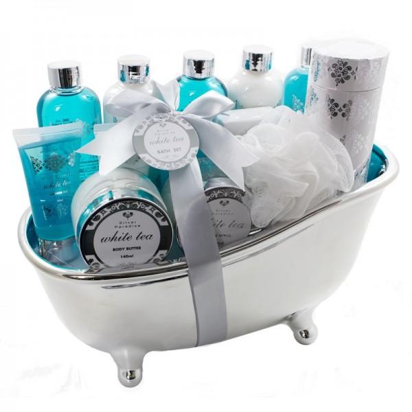Großes Geschenkset in Badewanne aus Keramik