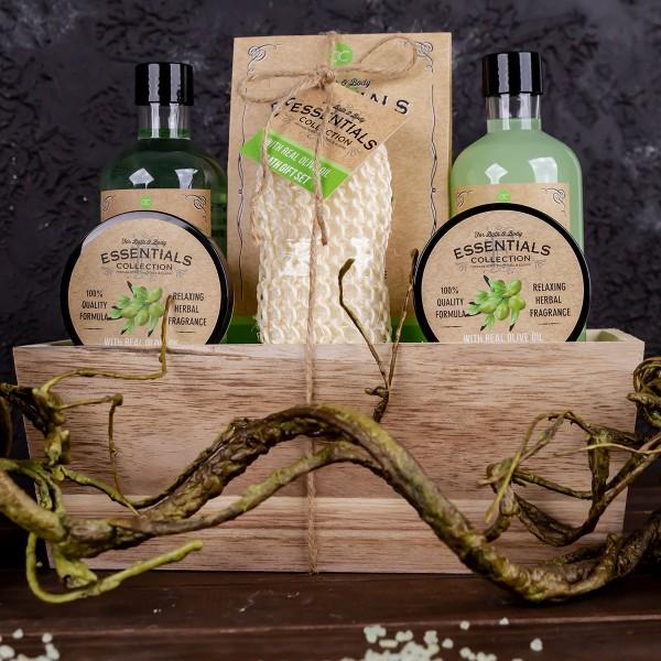 Geschenkset Olive in Holzkorb
