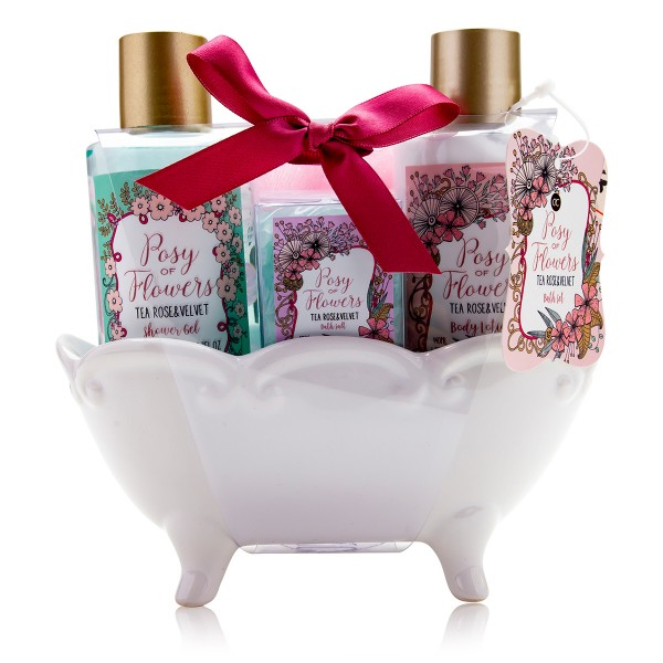 "Geschenkset ""Posy of Flowers"" in Keramikbadewanne"